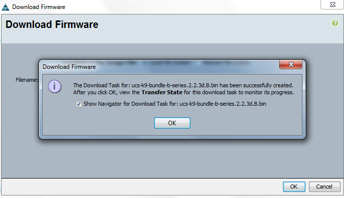 Cisco UCS Download firmware transfer state