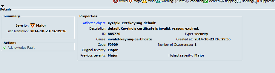 cisco ucs planning keychain fault check major