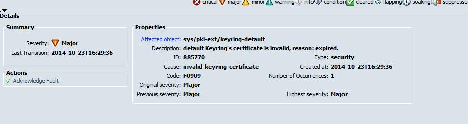 cisco ucs planning keychain fault check major