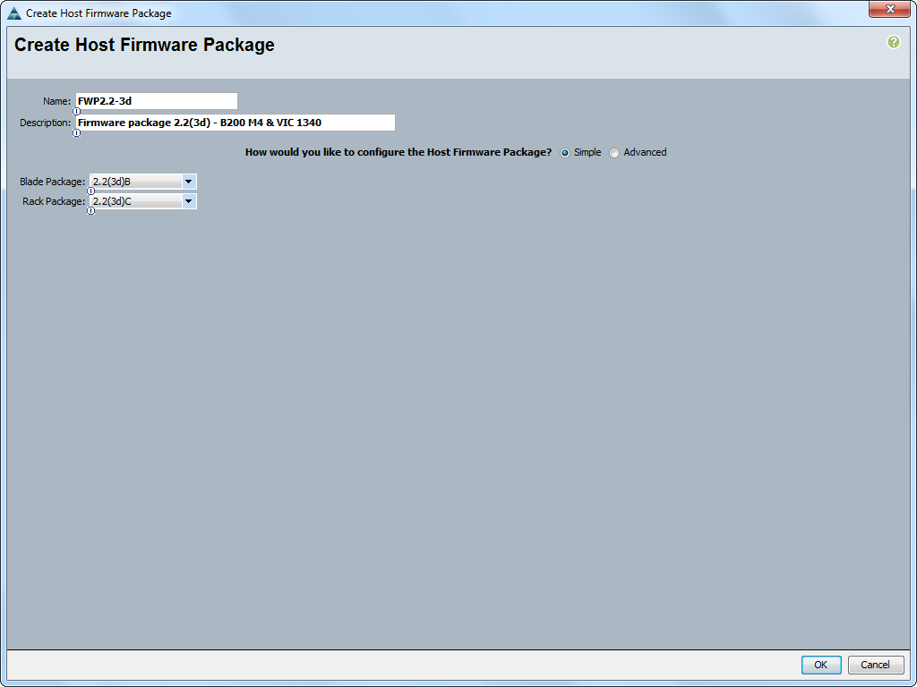 cisco ucs host firmware package creation