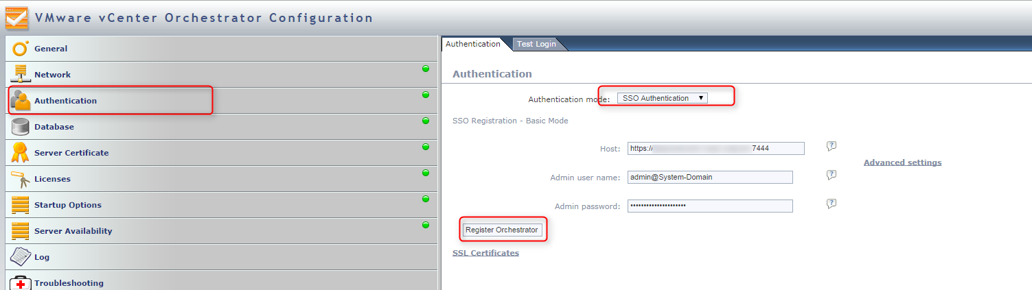 vco SSL authentication