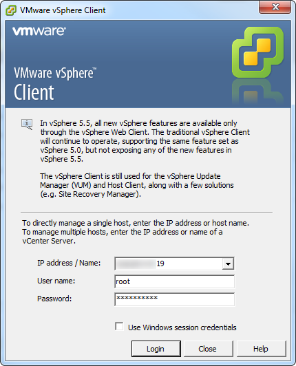 vCenter login screen