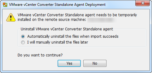 vCenter Server P2V Step 16