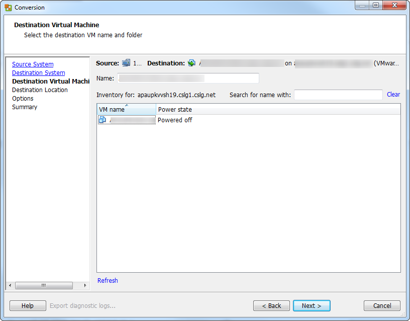 vCenter Server P2V Step 29