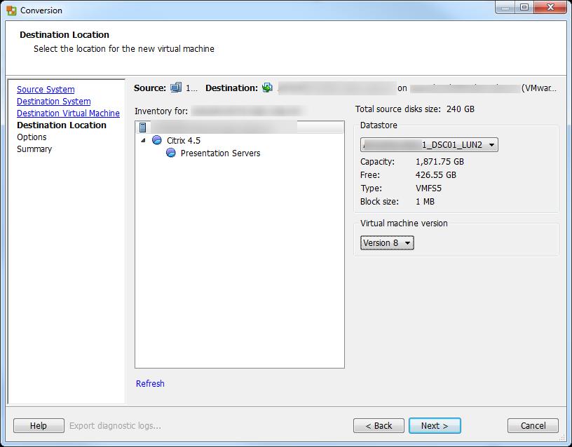 vCenter Server P2V Step 30