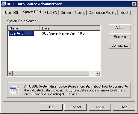 vCenter Upgrade Planning ODBC connections 2