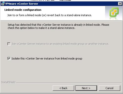 vCenter Upgrade Break Linked Mode Step 4