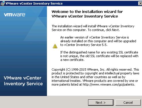 vCenter Inventory Service installation Step 3