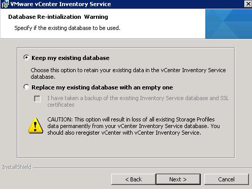 vCenter Inventory Service installation Step 5