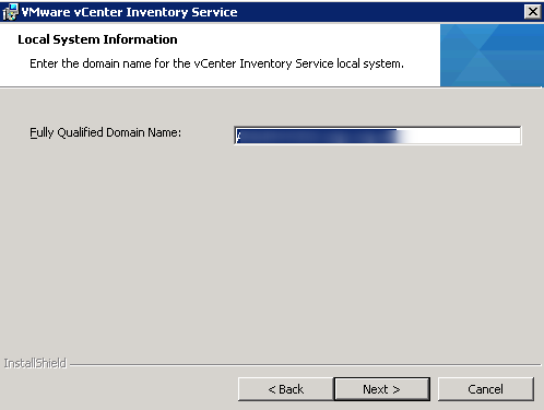 vCenter Inventory Service installation Step 6