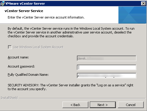 vCenter Server installation Step 10