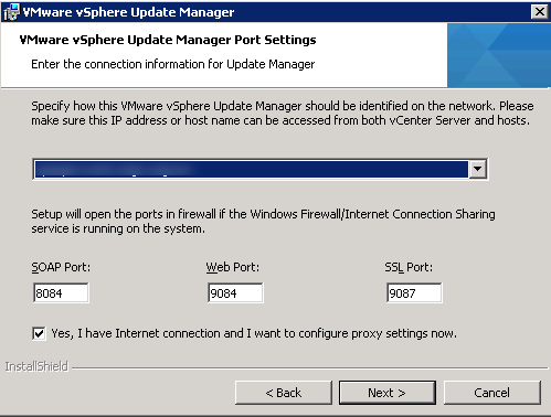 vCenter Update Manager installation Step 10