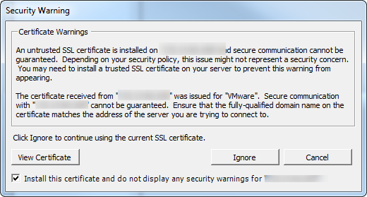 Update Manager Ignore Certificate