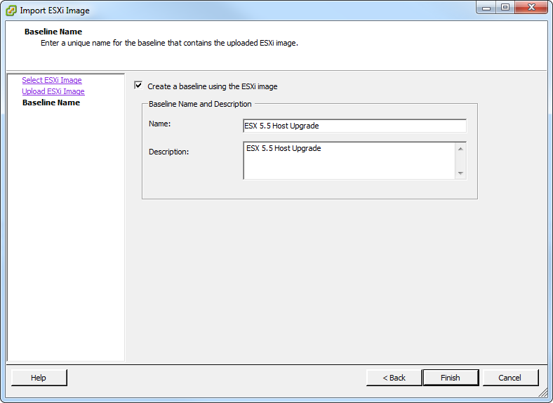 Update Manager Create Baseline