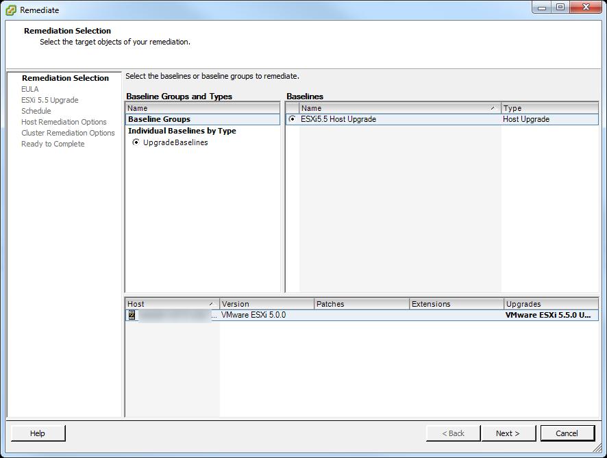 Update Manager Host Upgrade Step 2