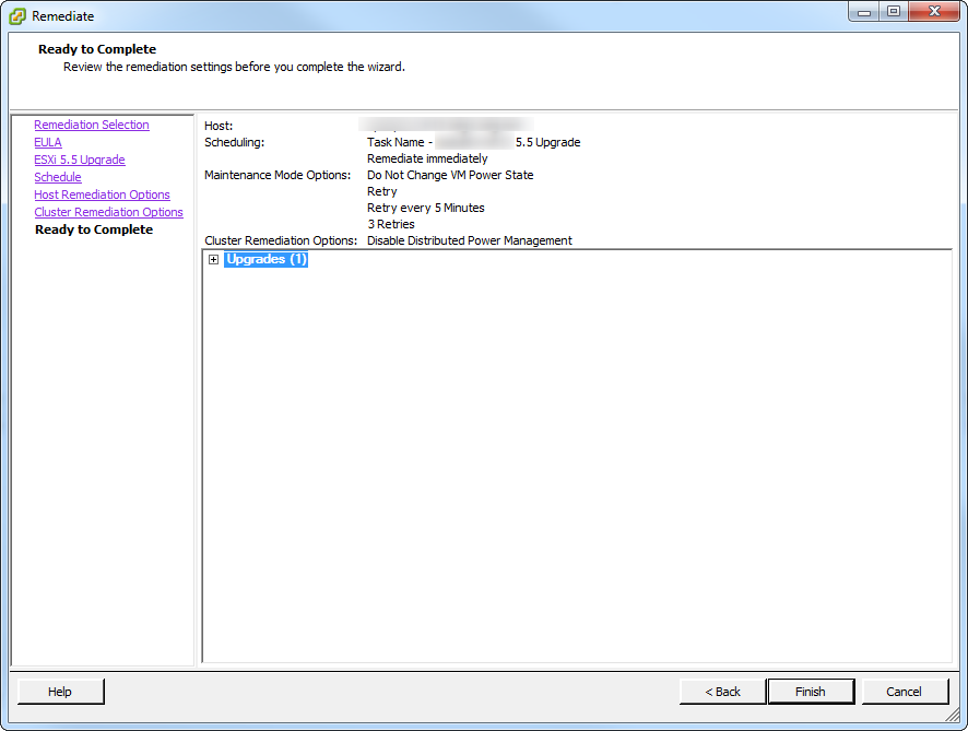 Update Manager Host Upgrade Step 6