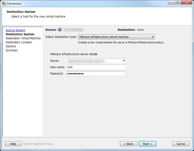 vCenter Server P2V Step 27