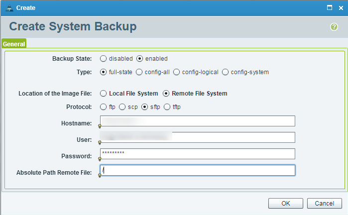 UCS Central Create Remote System Backup