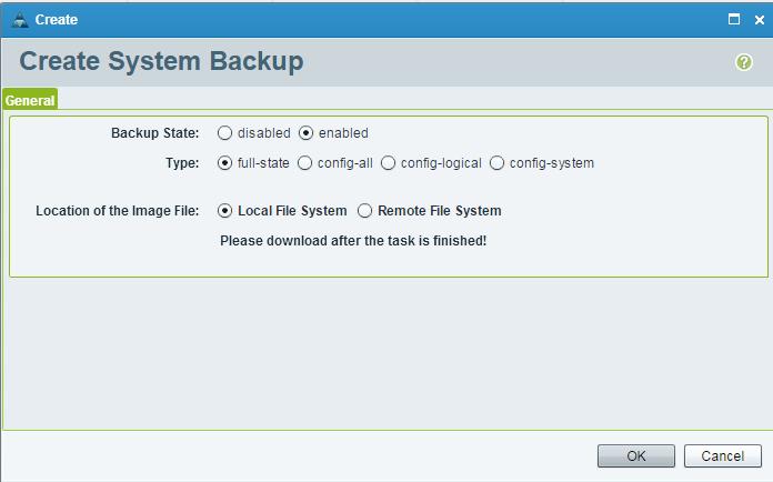 UCS Central Create System Backup Ok