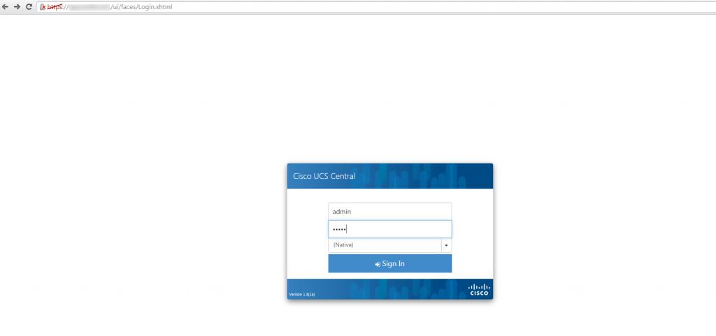 UCS Central HTML 5 login screen
