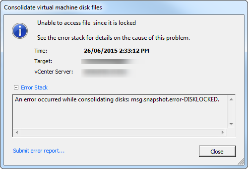 consolidate snapshot fail disk locked