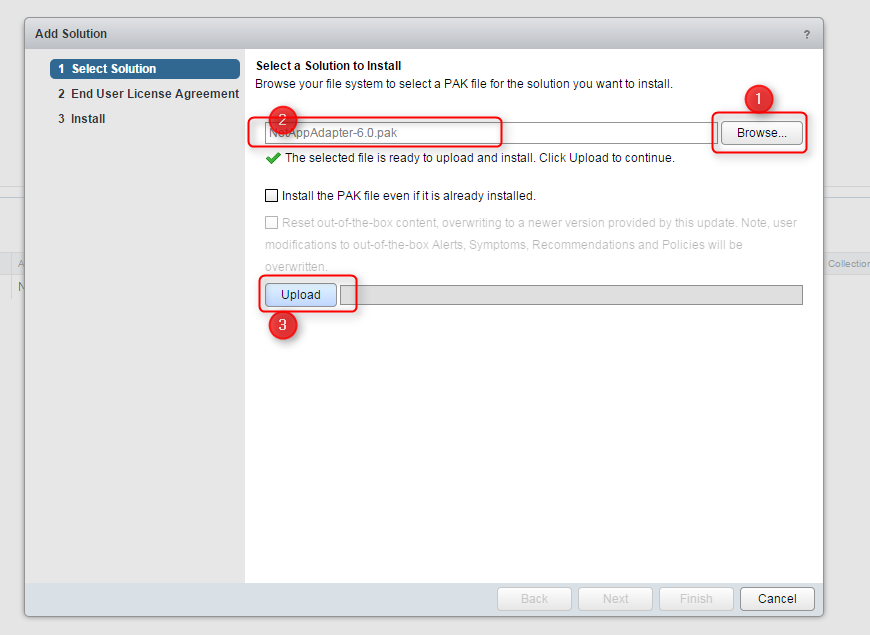 Blue Medora Netapp Management Pack Install Step 3
