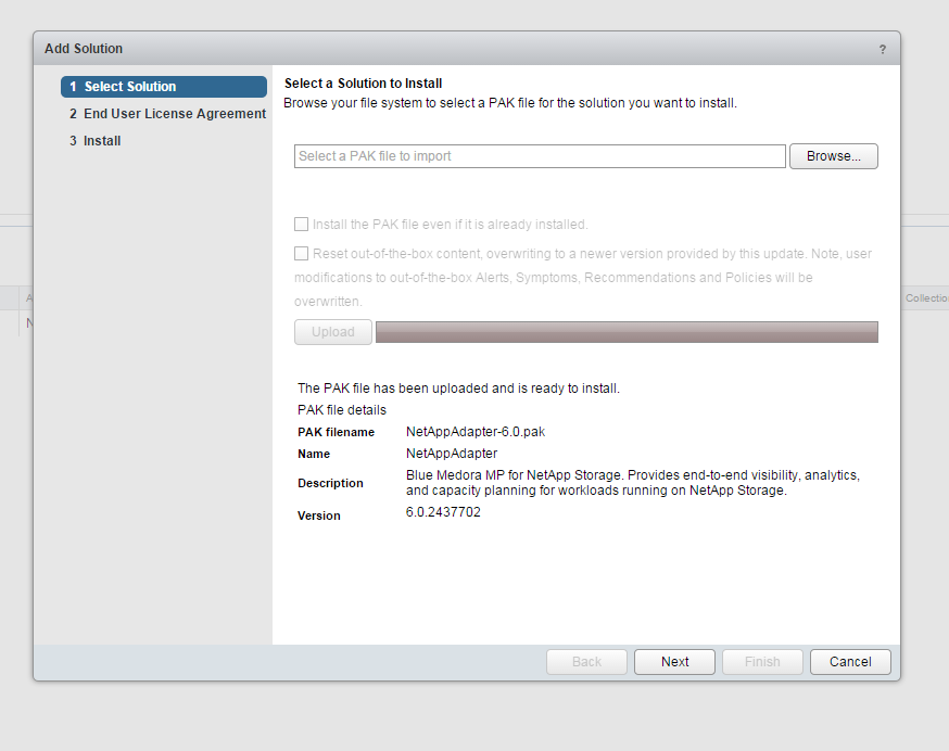 Blue Medora Netapp Management Pack Install Step 4