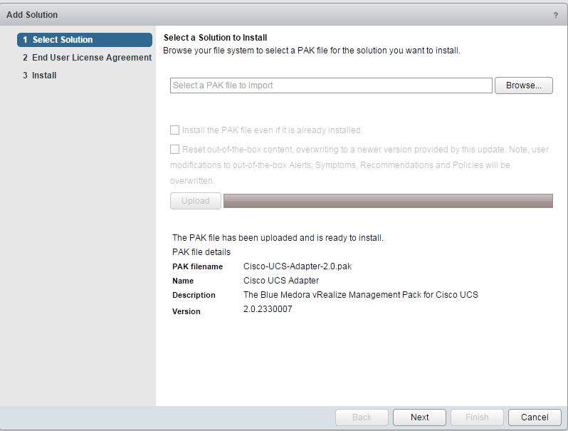 Blue Medora UCS Management Pack Install Step 4
