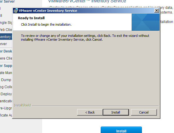 vcenter inventory service upgrade step 5