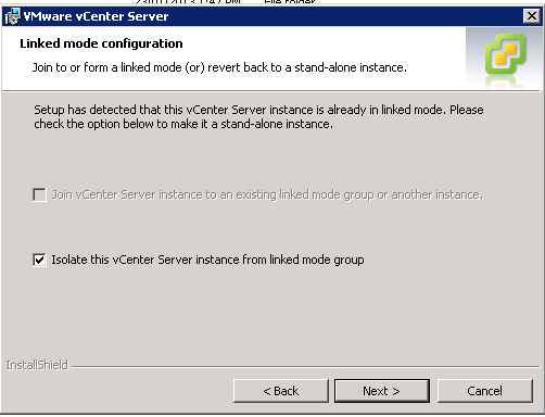 vCenter Upgrade Break Linked Mode Step 4