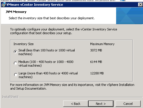 vCenter Inventory Service installation Step 8