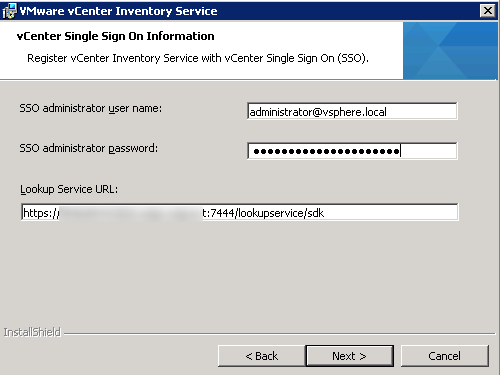 vCenter Inventory Service installation Step 9