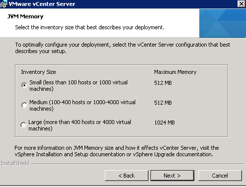 vCenter Server installation Step 12
