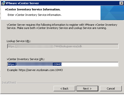vCenter Server installation Step 15