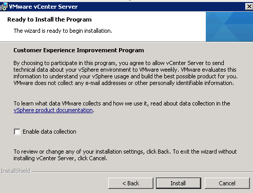 vCenter Server installation Step 17