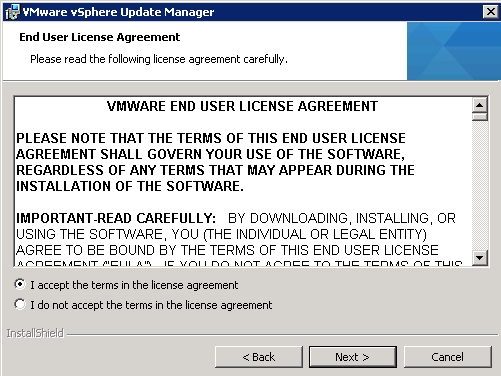 vCenter Update Manager installation Step 5