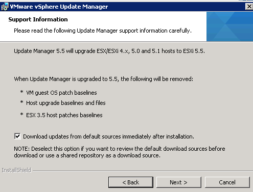 vCenter Update Manager installation Step 6
