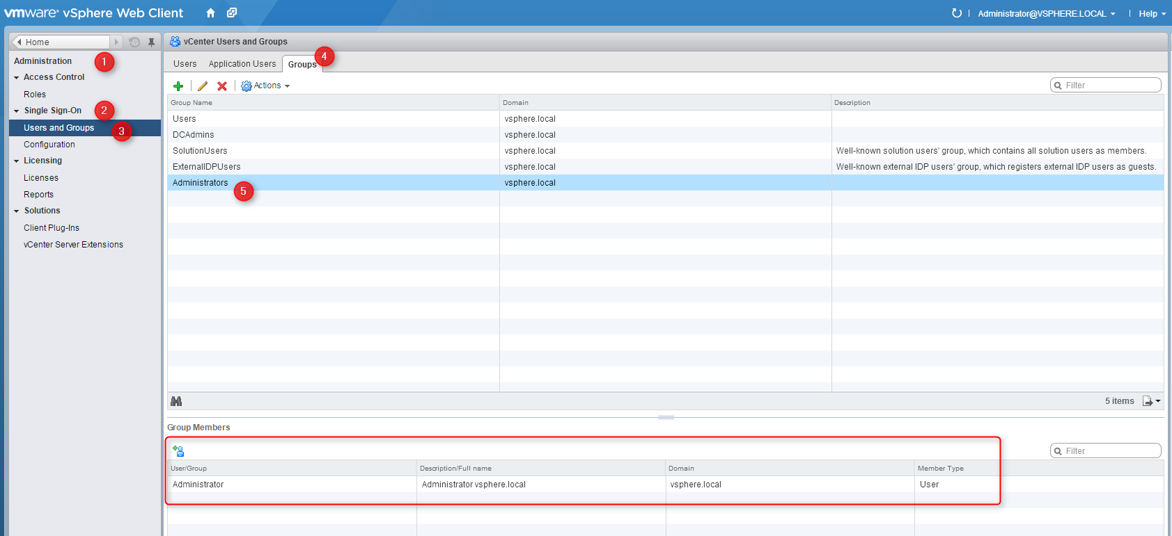 vSphere Web Client SSO Setup