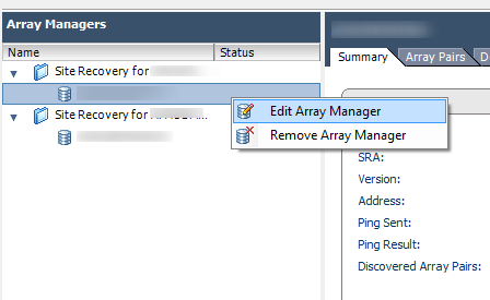 SRM Edit Array Manager
