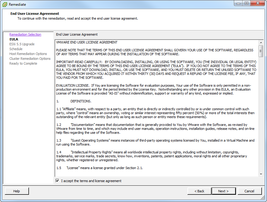 Update Manager Host Upgrade License Agreement