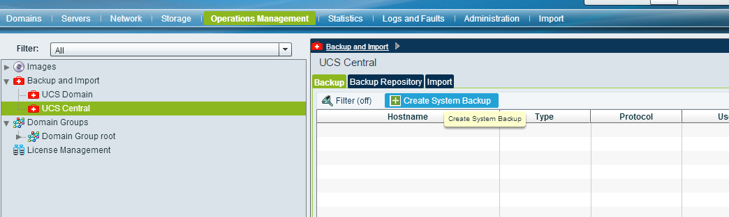 UCS Central Create System Backup