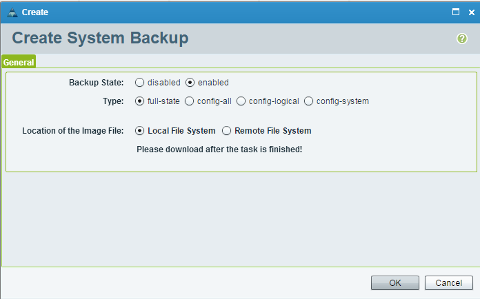 UCS Central Create System Backup Ok
